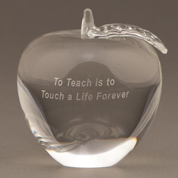 Teacher Glass Apple Paperweight for Teacher Appreciation Week Gift