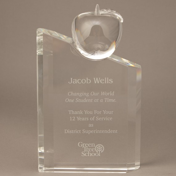 Etched Crystal Pillar with Crystal Apple Attached to Show Teacher Appreciation