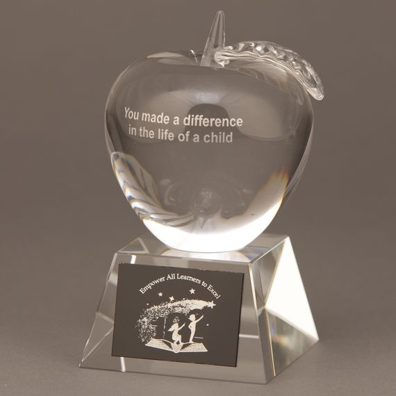Crystal Apple Trophy for End of the Year Teacher Gift