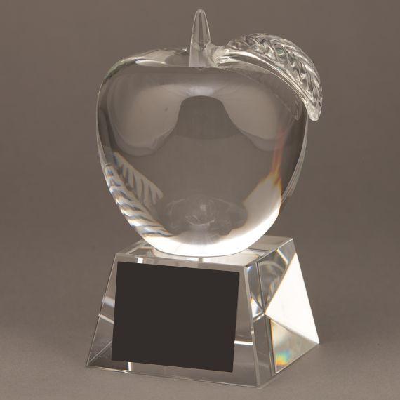 Educator Recognition Award - Large Crystal Apple Trophy