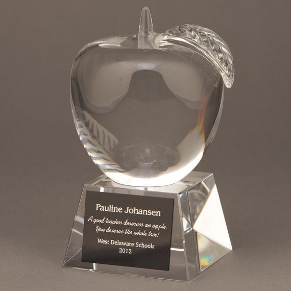 Large Crystal Apple Trophy for Educator Recognition