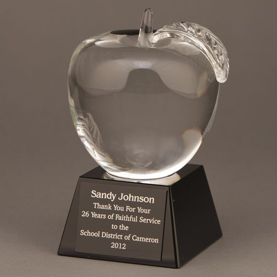 Large Crystal Apple on Black Crystal Base with Engraving for Teacher Retirement Idea