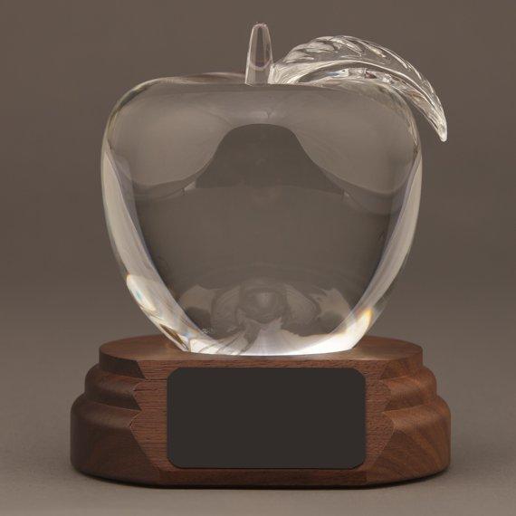 Large Crystal Apple on Walnut Base - Appreciation Gift