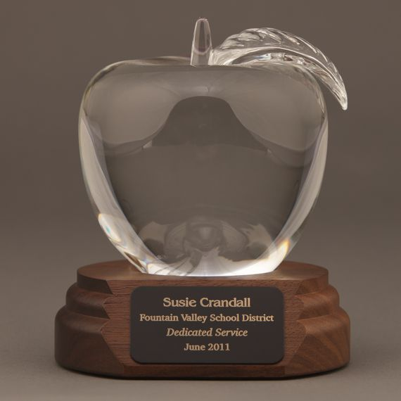 Large Crystal Apple on Walnut Base Engraved - Appreciation Gift
