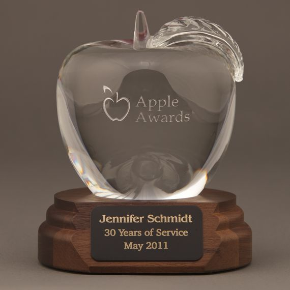 Etched Crystal Apple on a Walnut Base Engraved - Math Teacher Thank You Gift