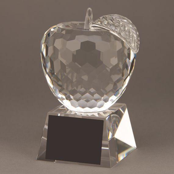 Diamond Cut Crystal Apple Educator Trophy