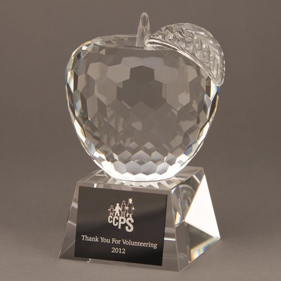 Diamond Cut Crystal Apple Educator Trophy with Engraving