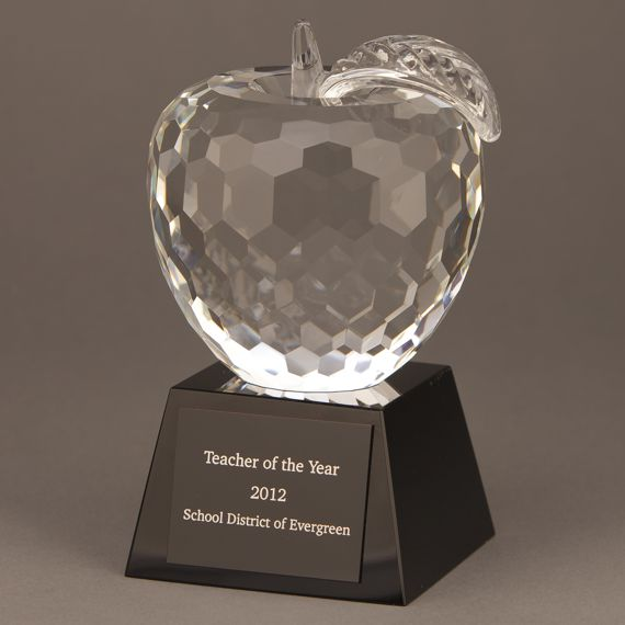 Diamond Cut Crystal Apple Teacher Black Trophy with Engraving