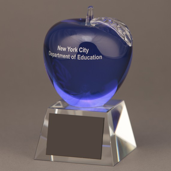 Etched Blue Crystal Apple without Engraving - Wonderful Teacher Appreciation Day Idea
