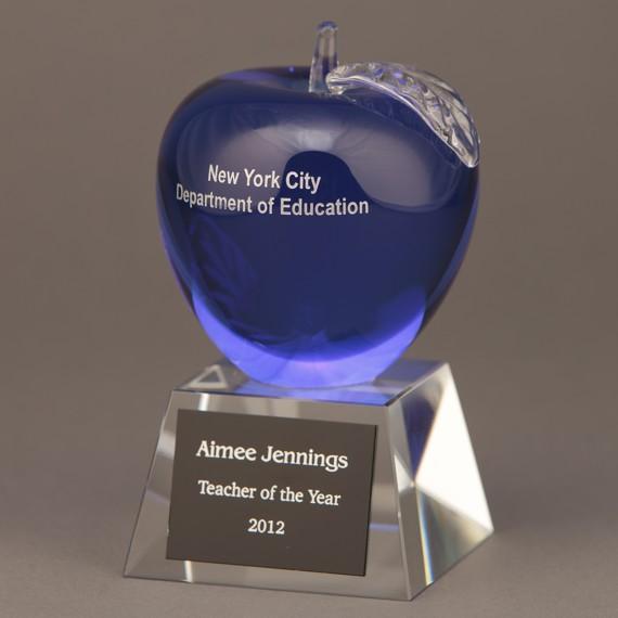 Etched Blue Crystal Apple - Wonderful Teacher Appreciation Day Idea