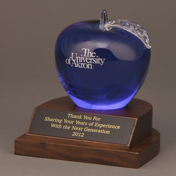 Blue Optical Crystal Apple Desk-Award - Apple & Plate Personalization Included