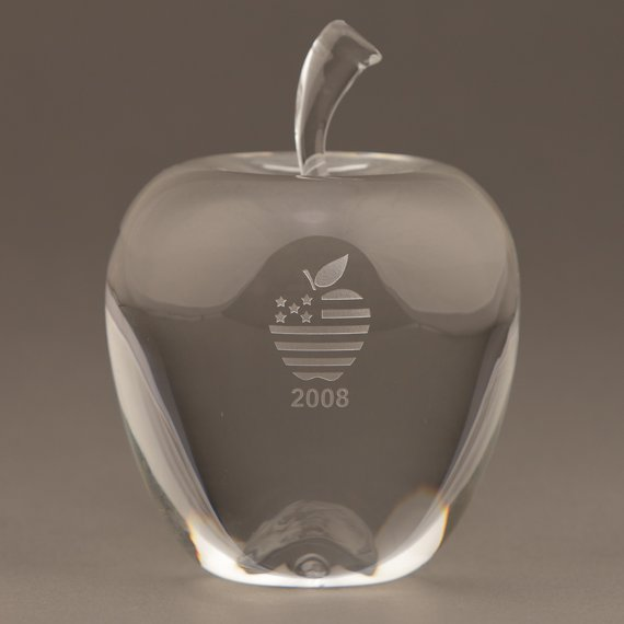 Custom Etched Large Crystal Apple Paperweight for Educators