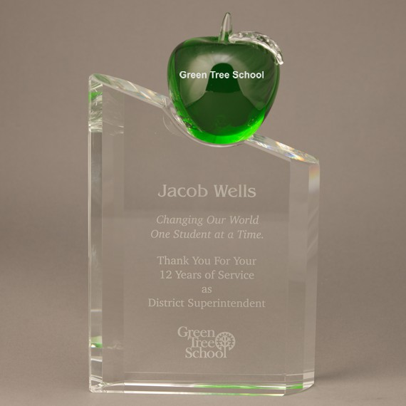 Etched Green Crystal Apple on Etched Pillar Award - A Great School Teacher Award