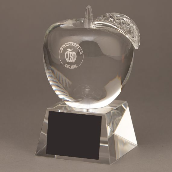 Teacher of the Month Etched Crystal Apple Trophy