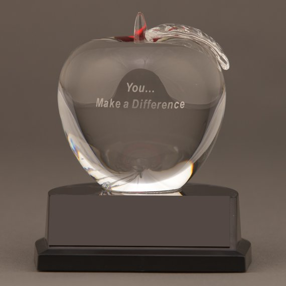 Nursing Crystal Apple Trophy with You... Make a Difference Saying