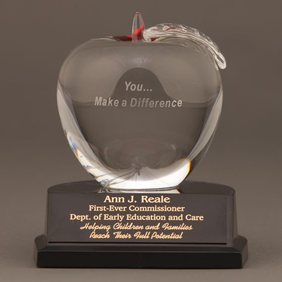 Healthcare Crystal Apple Trophy with You... Make a Difference Saying