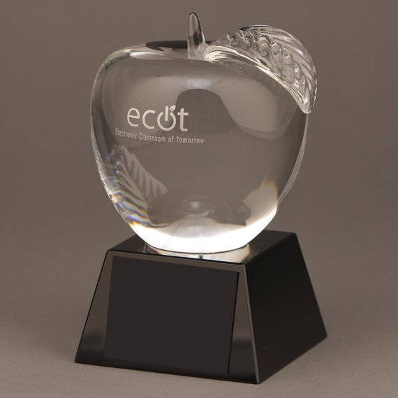Custom Etched Crystal Apple Trophy