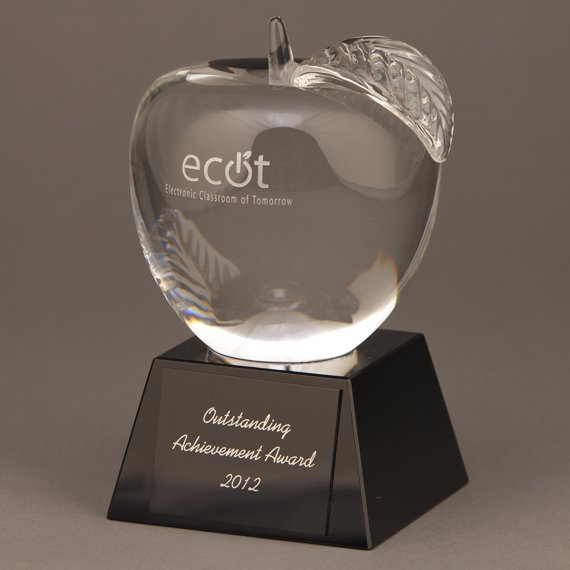 Custom Personalized Crystal Apple Trophy with Engraving