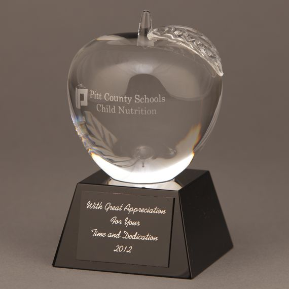 Etched Clear Crystal Apple Black Base Trophy for Recognizing Special Teacher