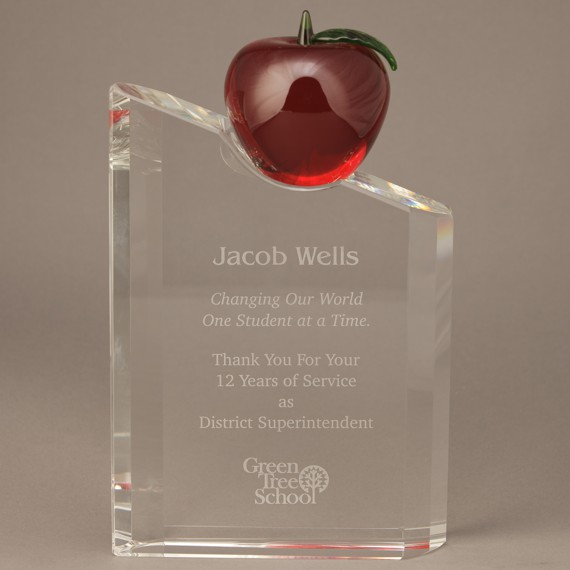 Red Apple on Etched Solid Crystal Pillar for a Retirement Gift