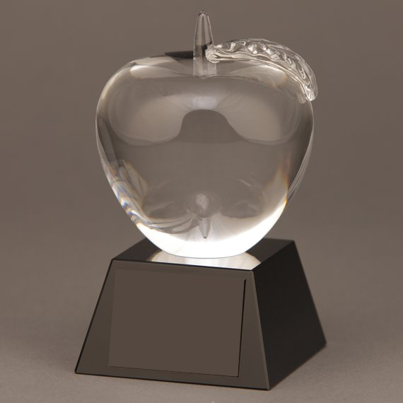 Glass Apple Trophy for Teacher Recognition