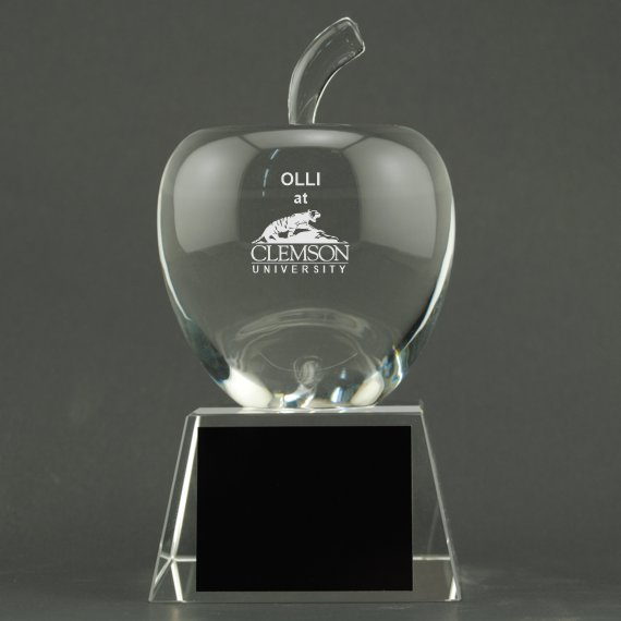 Custom Etched Crystal Apple on Crystal Base - Apple Personalization