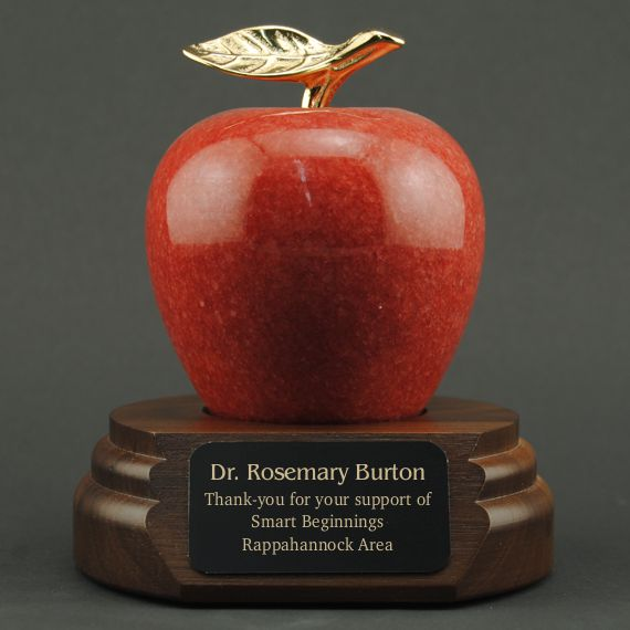Teacher Appreciation Red Marble Apple on Walnut Base - Plate Engraved
