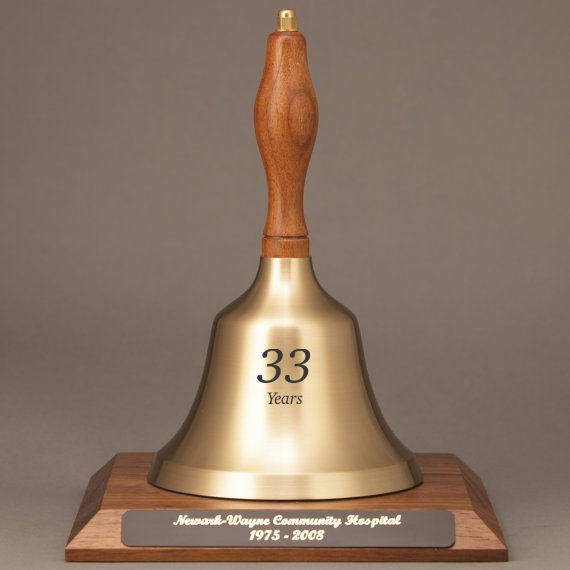 Teacher Appreciation Hand Bell with Walnut Handle and Base - All Engraving Included