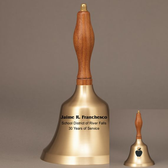 Golden Teacher Recognition Hand Bell with Walnut Handle - 2 Sided Personalization