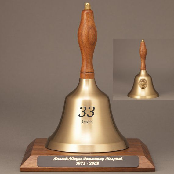 Teacher Recognition Hand Bell with Walnut Handle, Base & Medallion - Bell & Plate Personalization