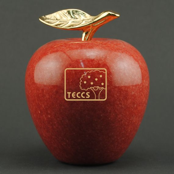 Teacher Appreciation Red Marble Apple on Walnut Base - Apple Personalization