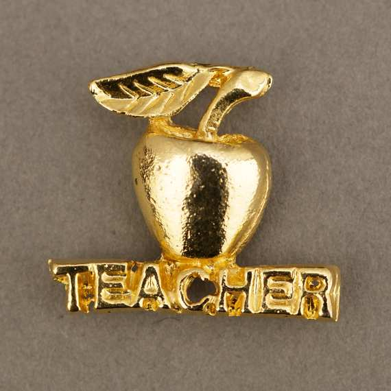Teacher Appreciation Day Gift Idea Custom Lapel Pin - Gold Apple Teacher