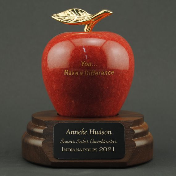 Teacher Appreciation Red Marble Apple on Walnut Base - You... Make a Difference
