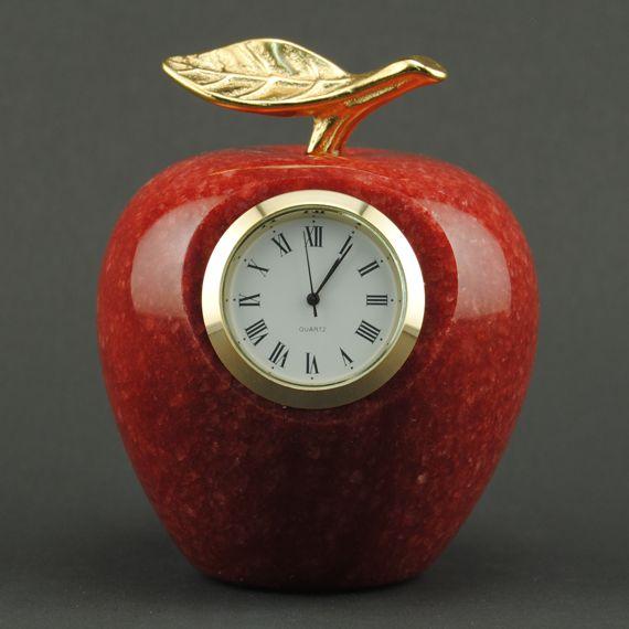 Teacher Appreciation Red Marble Apple Clock Paperweight