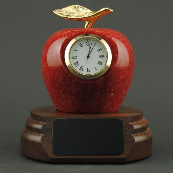 Teacher Appreciation Red Marble Apple Clock on Walnut Base