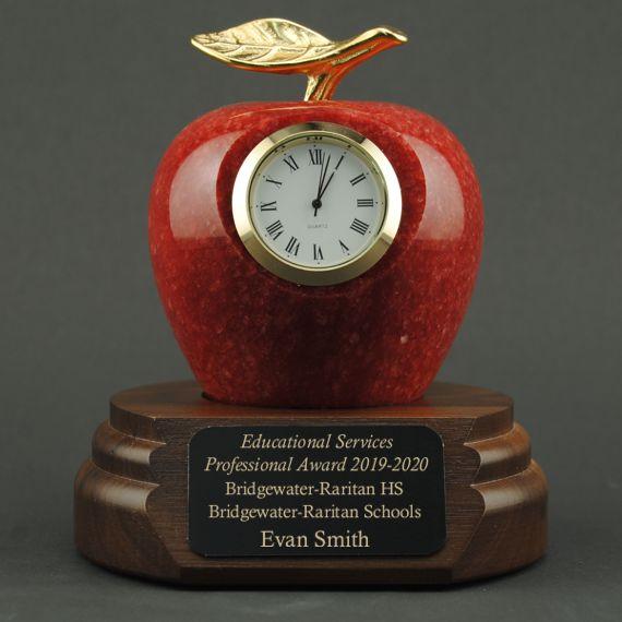 Teacher Retirement Gift Red Marble Apple Clock on Walnut Base