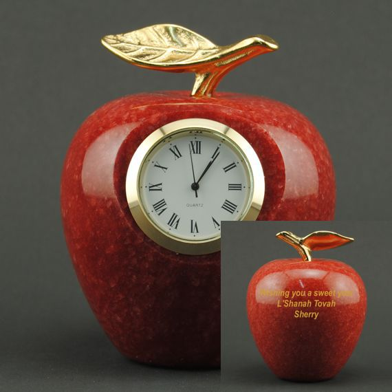 Teacher Appreciation Red Marble Apple Clock with Custom Engraving
