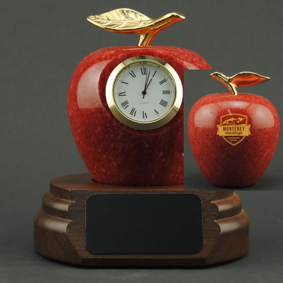 Teacher Appreciation Red Marble Apple Clock On Walnut Base with Custom Engraving on Back