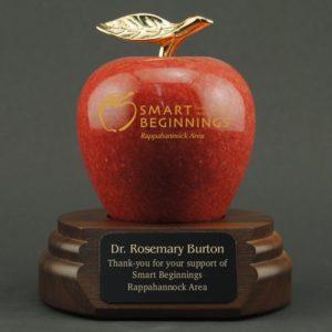Custom engraved Marble Apple with Walnut Base for Teacher Appreciation Idea