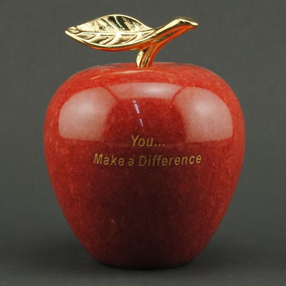 you-make-a-difference-etched-red-marble-apple-paperweight