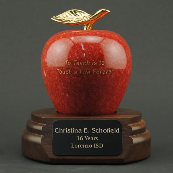 to-teach-is-to-touch-a-life-forever-etched-red-marble-apple-desk-award-engraved