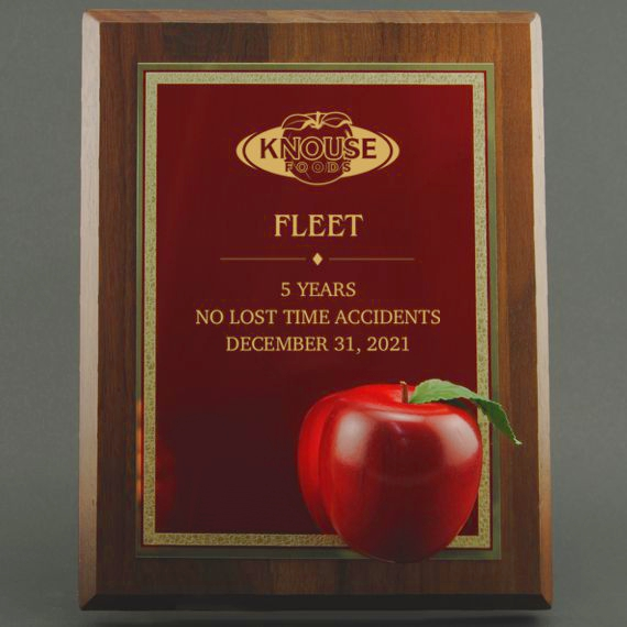 Engraved Red Apple Plaque Makes an a Great President's Award for Educational Excellence