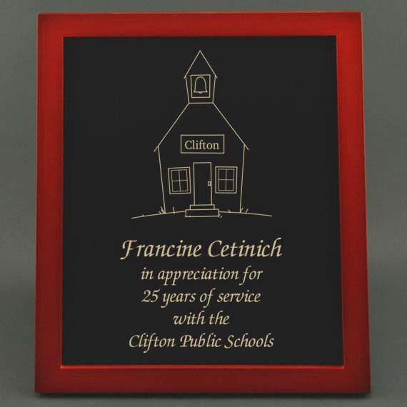 8-3/4 x 10-3/4 Teacher Recognition Slate Board Plaque for Service Anniversary - Personalization Included