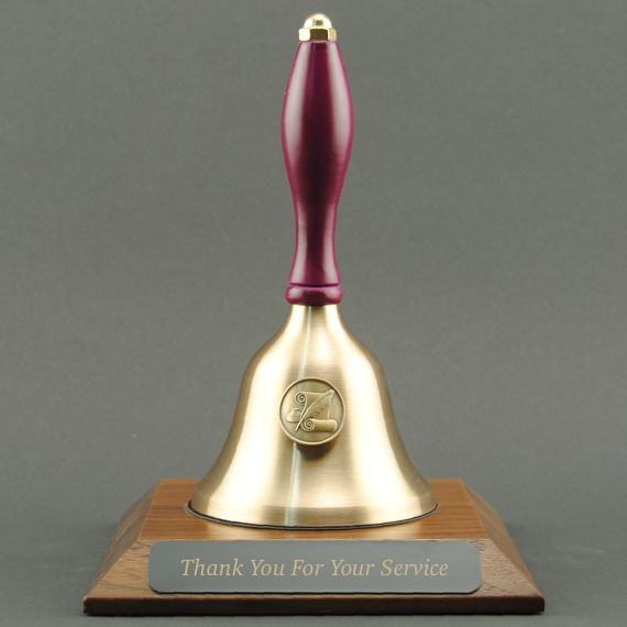 Teacher Recognition Hand Bell with Purple Handle, Base & Medallion - Plate Personalization