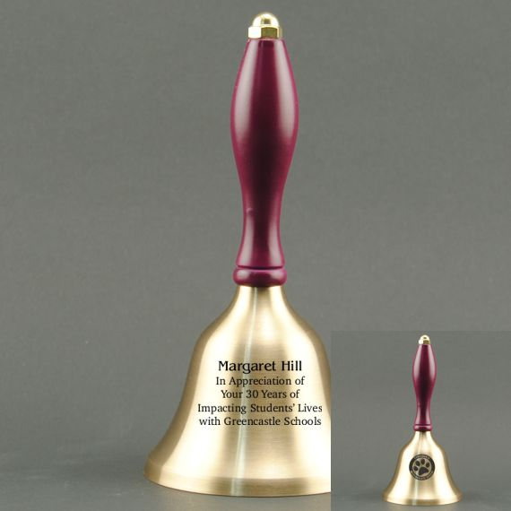 Teacher Recognition Hand Bell with Purple Handle - 2 Sided Personalization