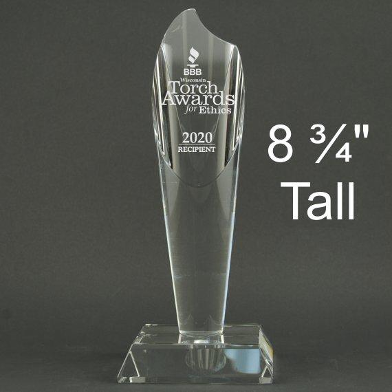 Medium Crystal Torch Award Trophy - Personalization Included