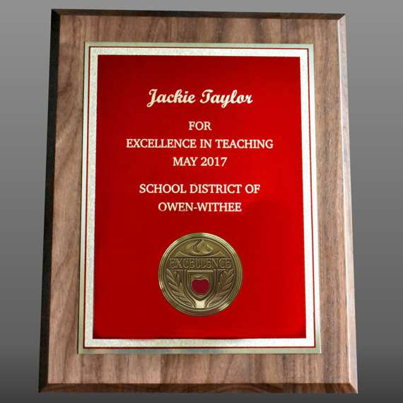 Custom Engraved Educator Appreciation Plaque For Service Recognition