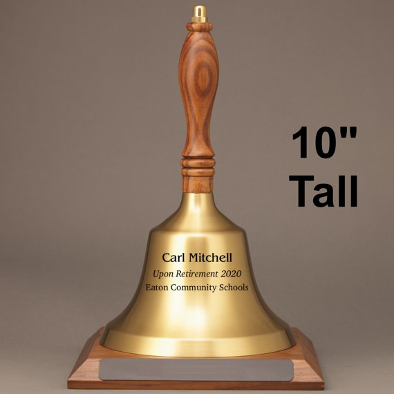 Teacher Appreciation Hand Bell with Walnut Handle and Base - Engraved Bell