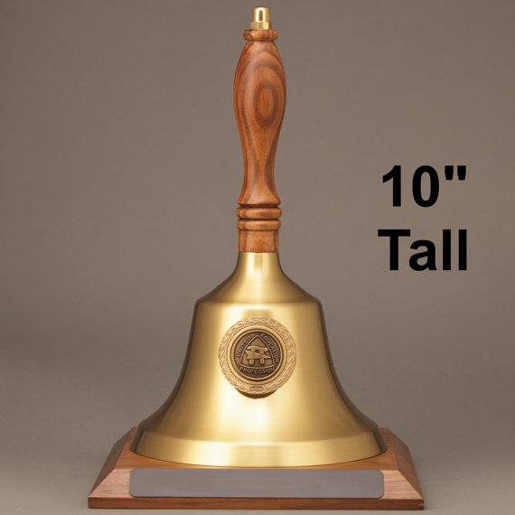 Teacher Recognition Gold Hand Bell with Walnut Handle, Base & Medallion - No Personalization