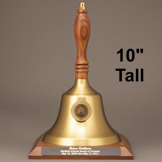 Teacher Recognition Gold Hand Bell with Walnut Handle, Base & Medallion - Plate Personalization